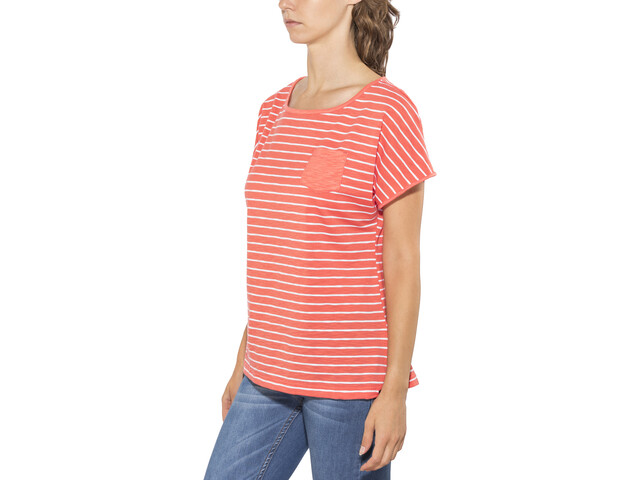 Jack Wolfskin Travel t-shirt Dames, hot coral stripes